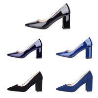 Verocara Women Pointed Toe Chunky Block Heel Simple Style Dress Pump Sandal Shoe