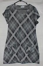 Crossroads Womens checked grey dress tunic glitter specks SIZE L