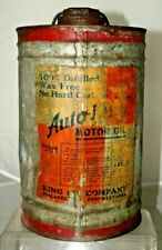 Vintage 1930s - 50s KING OIL Company Philadelphia Galvanized Advertising Oil Can