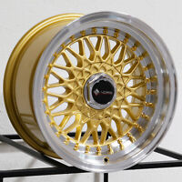 "4-New 15"" Vors VR3 Wheels 15x8 4x100/4x114.3 20 Gold Rims 73.1"