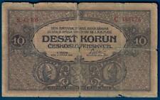 Czechoslovakia 10 korun 1919, P8a, w/ tears yet SCARCE issue!