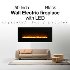 """1500W 50"""" Black frame Wall Mounted Electric Fireplace Heater"""
