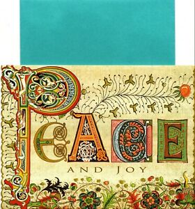 Peace & Joy Beautiful Letter & Flower Designs Holiday Greeting Cards - Set of 6
