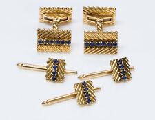 Gold Sapphire Cufflinks & Stud Set Vintage Van Cleef & Arpels 18K Yellow