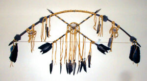 """48"""" Bow & Arrow Wall Display w/ Dreamcatchers Native American made ND11"""
