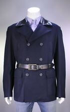 NWT New * BELSTAFF * Recent Navy Blue Wool w/ Leather Belted Peacoat Jacket~ XL