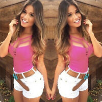 Sexy Women Summer V Neck Vest Top Sleeveless Blouse Tank Tops T-Shirt Casual FT