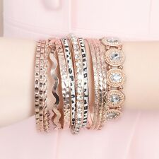 Fashion Women 12Pcs Silver Rose Gold Bracelets Set Rhinestone Bangle Jewelry