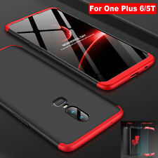 Shockproof Thin Full Cover Armor Case for One Plus 6/5T Shell+Temper Glass Film
