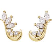 Genuine 1/4 ctw Diamonds Ear Climbers Earrings in 14K Yellow, White or Rose Gold