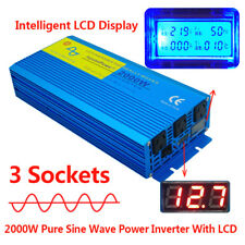 PURE SINE WAVE 2000W MAX 4000W DC 12V to AC 240V POWER INVERTER CARAVAN CAMPING