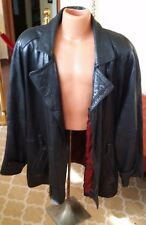 VINTAGE butter soft '90s Oversized Black Lambs Leather Coat Size XL