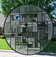 Contemporary Beveled Stained Glass Window Panel 20.0 inch