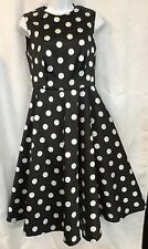 CH Carolina Herrera Dress Black And White Polkadot Sleeveless Taffeta Nwt Size 4