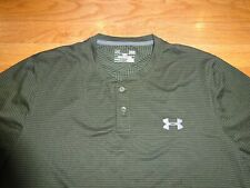 Under Armour Men's Cold Gear Loose Khaki Green Striped Shirt Size L