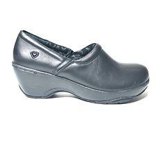 Nurse Mates Bryar Clogs Shoes Black Leather Slip On Slip Resistant Women's Sz 9M