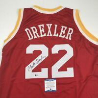 Autographed/Signed CLYDE DREXLER Houston Red Basketball Jersey Beckett BAS COA