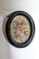 Cadre médaillon NIII noir Tapisserie Bouquet de fleurs Verre bombé