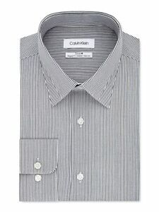 CALVIN KLEIN Mens Navy Pinstripe Classic Fit Cotton Dress Shirt L 16.5- 32/33