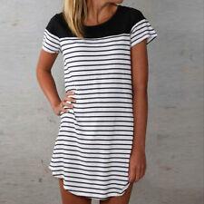 Ladies Summer Loose Beach Dress Striped Splicing Asymmetric Tops T Shirt Dresses White L