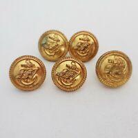 Shaw Savill Albion line Set of 5 gilt brass buttons 20mm Firmin & unbranded