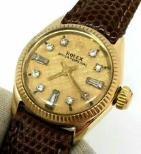 Rolex Lady President Oyster Perpetual 18k Gold Diamond Dial Leather VTG Estate