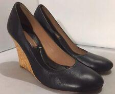 BCBG Max Azria Women's Black Leather Woven Wedge Heels Size 7.5