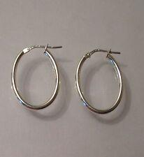 New 925 Sterling Silver Plain Oval Hoop Creole Earrings, Length 2.5cm G5555