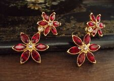 Vintage Marquise Navette Ruby Red Crystal Daisy Flower Drop Pierced Earrings