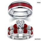Couple Rings Red Ring Titanium Steel Mens Band Heart CZ Women's Wedding Ring Set
