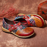 SOCOFY Women Buckle Fancy Flowers Splicing Genuine Leather Stitching Shoes