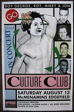 CULTURE CLUB 2016 BOY GEORGE Gig POSTER Edgefield Portland Oregon Concert VERS 2