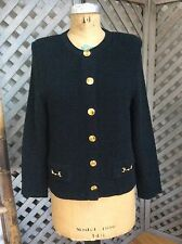 MITA Black Cardigan Sweater Jacket HORSE BIT BUTTONS 10 KRINKLE SPUN KNIT Ribbed