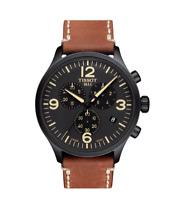 Authentic Tissot Chrono XL Black Dial Brown Leather Men's Watch T1166173605700