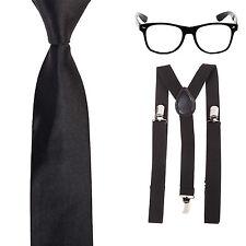 Geek Nerd Tie Fancy Dress Costume - Glasses + Slim Neck Tie + Braces - Black