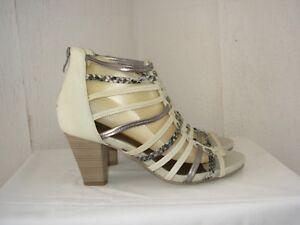 Femmes Tamaris Sandale Sandales Sandale Sandales Véritable Cuir Marron//Gris Nouveau!