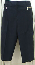 Anne Klein New With Tags Size 14W  Black Capris Front Zipper Pockets
