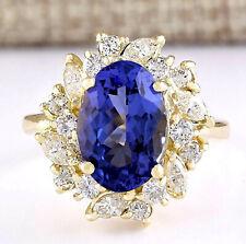 6.58 Carat Natural Tanzanite 14K Yellow Gold Diamond Ring