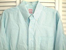 Brooks Brothers Light Blue Check Shirt 16 - 3 Long Sleeve Button Down All Cotton