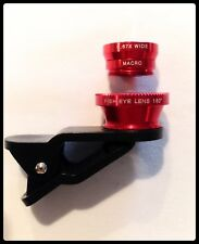 180° Clip-On 3 in 1 Fisheye + Wide Angle + Macro Lens iPhone 6 Plus 5S 5C 5 RED