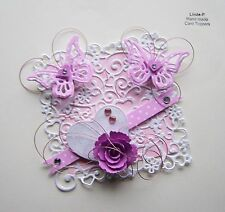 3D  HEART & BUTTERFLIES with WIRE  CARD CRAFT TOPPER  GEN 28-1 Pink