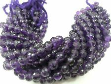 "10"" Strand Natural Amethyst Round Ball Faceted Gemstone Loose Beads 8-9mm"