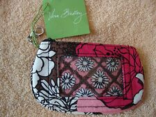 Vera Bradley Clip Zip ID holder case zipper Mocha Rouge