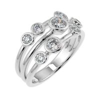 Special Offer..! 0.50Ct Round Diamond Bubble Ring, UK Hallmarked 18k White Gold