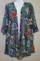 NWT Lularoe Lindsay Kimono Cardigan Multicolored Floral Sz M