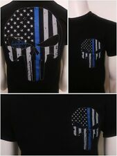 Thin Blue Line Punisher SWAT Police USA Flag T shirt 2 sided Tactical 100 cotton