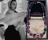 VINTAGE 50s PURPLE AURORA BOREALIS CRYSTAL DOUBLE STRAND NECKLACE SIGNED ENGLAND