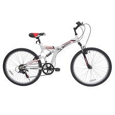 "26"" Folding Mountain Bike Hybrid Bike 7 Speeds Front Suspension Bicycles White"