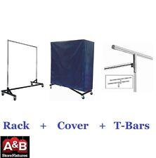 Z Racks Nylon Cover & Black Rack Single Bar Rolling Clothing Garment Clothes