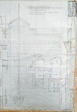 1909 ORIG LEAGUE PARK CLEVELAND HANDDRAWN INK ON VELUM TICKET OFFICE BLUEPRINT